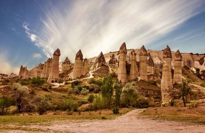 Cappadocia, Anatolia, Turkey. Volcanic mountains in Goreme national park.