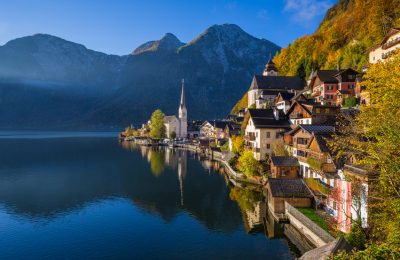 Hallstatt mountain village with Hallstatter See in the Austrian Alps