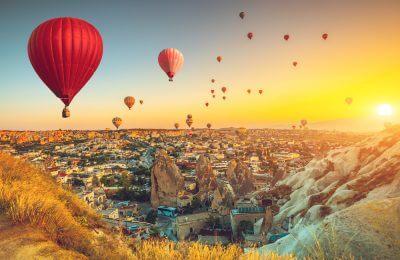 Turkey Hot air balloons flying over spectacular Cappadocia