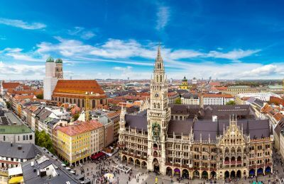 Marienplatz town hall and Frauenkirche in Munich, Germany