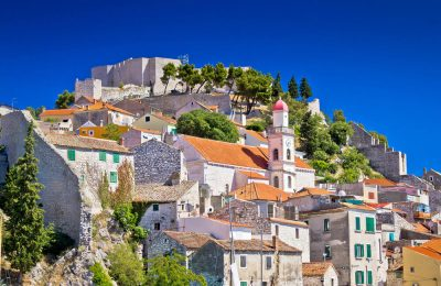 Old stone town of Sibenik view, Dalmatia, Croatia