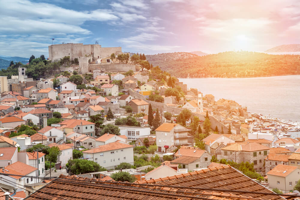 Old town of Sibenik in Croatia at sunset