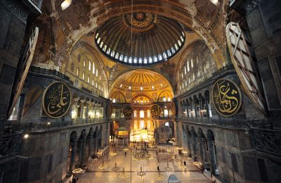 The interior of Hagia Sophia, Ayasofya, Istanbul, Turkey.