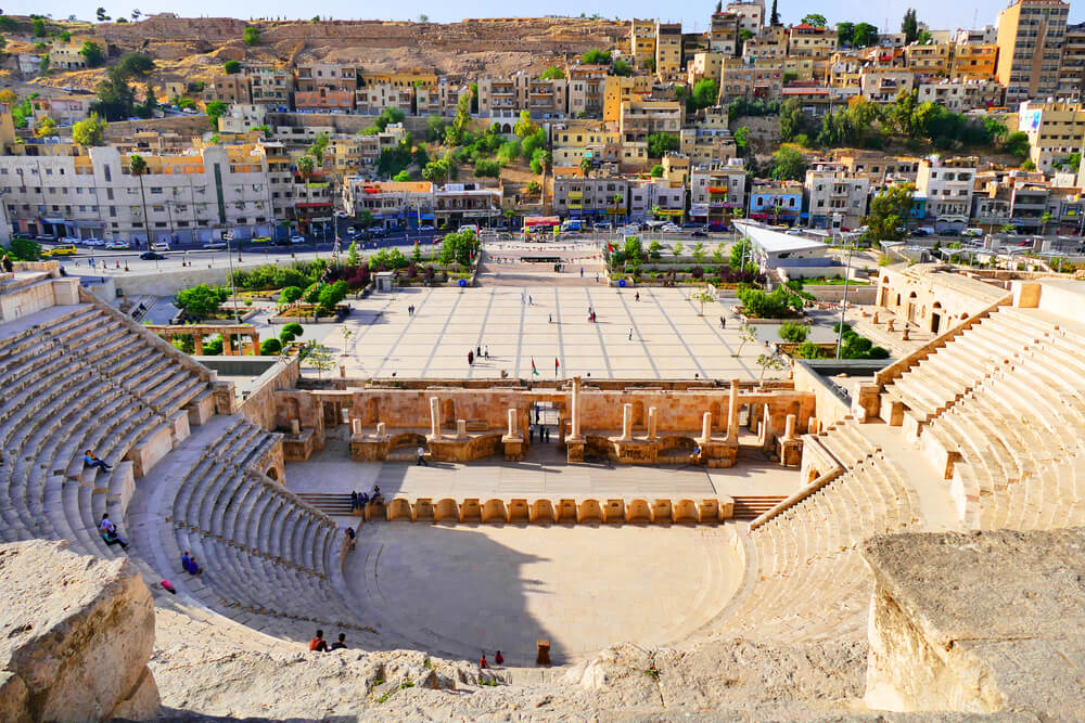 View of The Ancient Roman Theatre from The Upper Balconies in Amman, Jordan