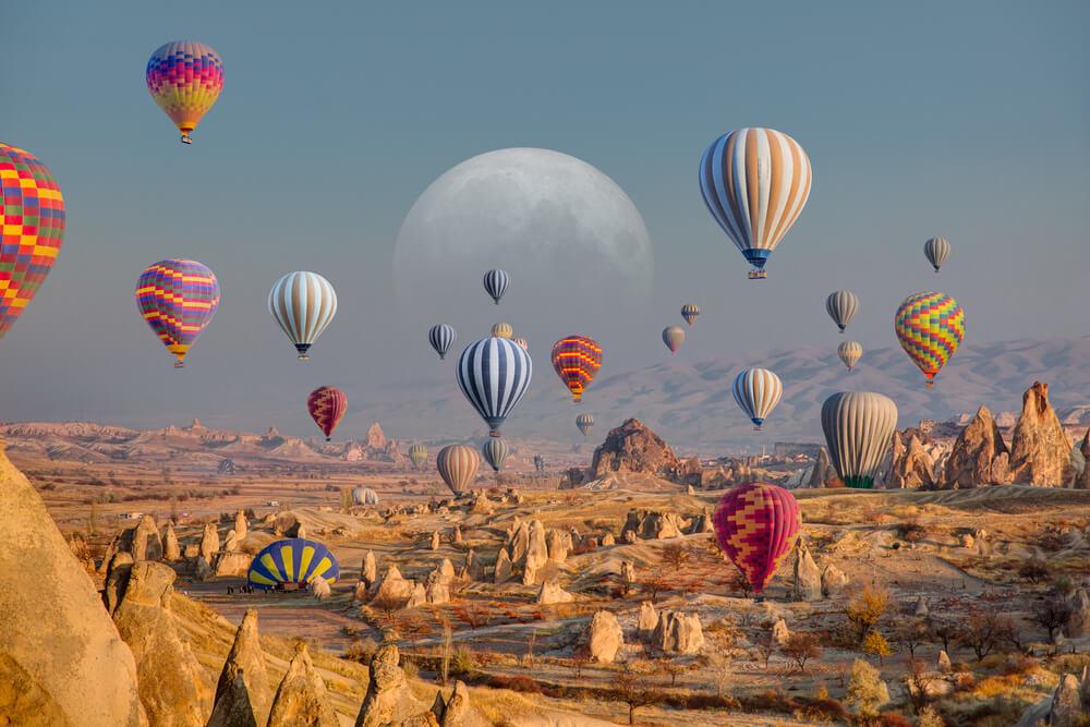 balloon flying over spectacular Cappadocia