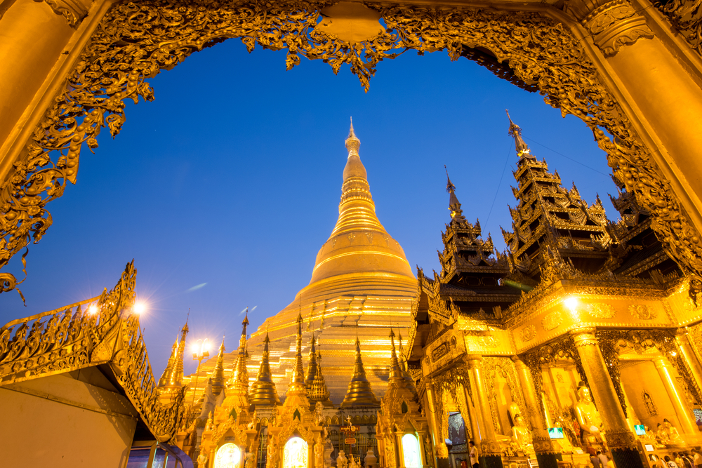 Beautiful pagoda in the world. The famous pagoda in Myanmar. Night at Shwedagon Pagoda (Shwedagon Pagoda) in Myanmar or Burma