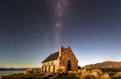 Milky Way Shines Over Church of the Good Shepherd, Lake Tekapo, South Island New Zealand