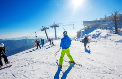 Skier skiing on Deogyusan Ski Resort in winter