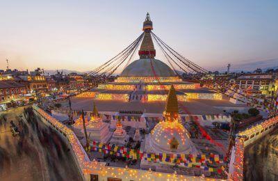 Sunset Boudhanath stupa and New Year Festival In Kathmandu Nepal
