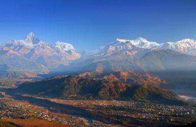 View of the Himalayan mountains from Sarangkot hill, Pokhara, Nepal jpg